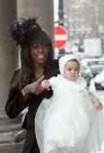 Mica Paris and Baby during Mica Paris Baby Christening at St George's Church in London United Kingdom