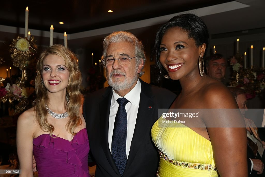 Micaela Oeste, Placido Domingo and Angel Blue attend the Placido Domingo Named Goodwill Ambassador Of Unesco ceremony and dinner at UNESCO on November 21, 2012 in Paris, France.