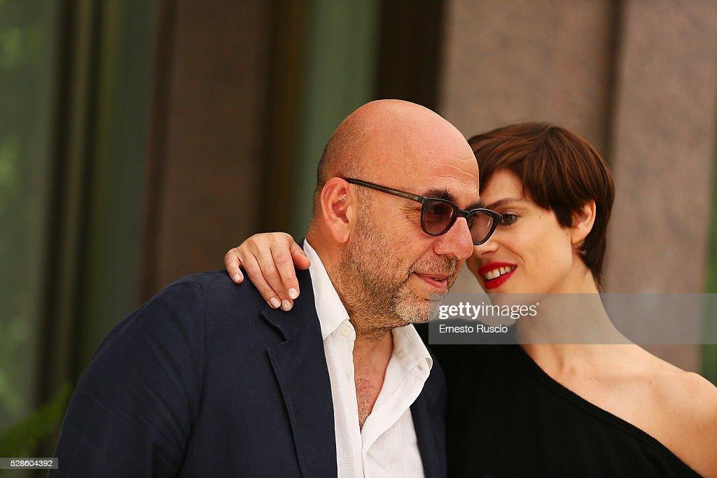 Micaela Ramazzotti and director Paolo Virzi attend the 'La Pazza Gioia' photocall at Hotel Visconti on May 06, 2016 in Rome, .