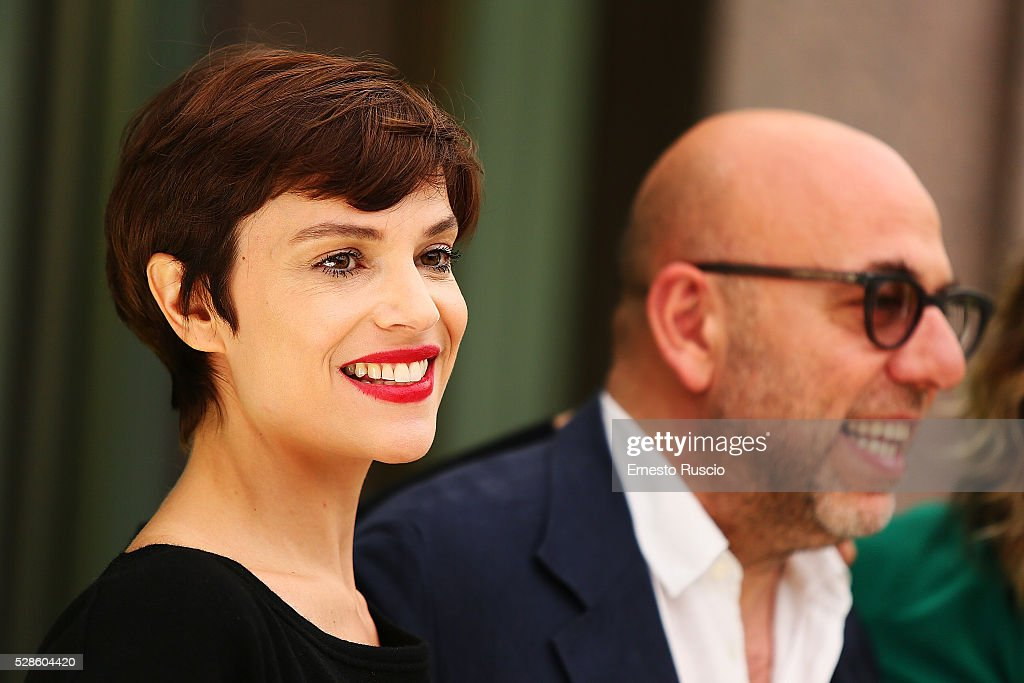 Micaela Ramazzotti and director Paolo Virzi attend the 'La Pazza Gioia' photocall at Hotel Visconti on May 06, 2016 in Rome, .