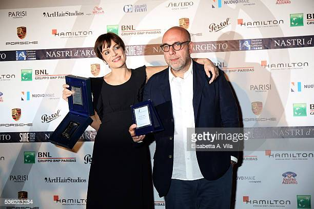 Micaela Ramazzotti and Paolo Virzi attend Nastri D'Argento 2016 Award Nominations at Maxxi on May 31 2016 in Rome Italy