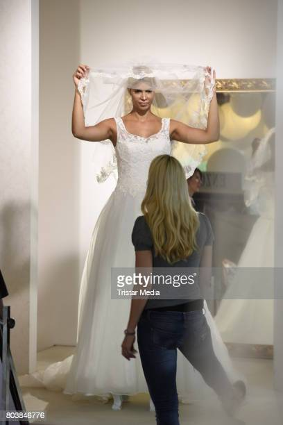 Micaela Schaefer and Yvonne Woelke are seen in Berlin shopping for a wedding dress at Crusz on June 30 2017 in Berlin Germany