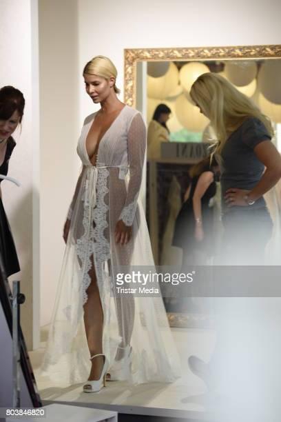 Micaela Schaefer and Yvonne Woelke are seen in Berlin shopping for a wedding dress at Crusz on June 30 2017 in Berlin Germany