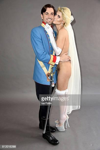 Micaela Schaefer as princess Maria Josepha von Sachsen and her boyfriend Felix Steiner as Karl I pose during the Micaela Schaefer Calender 'Austria'...