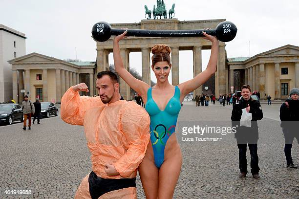 Micaela Schaefer attends a Photocall at the Brandenburg Gate on March 2 2015 in Berlin Germany