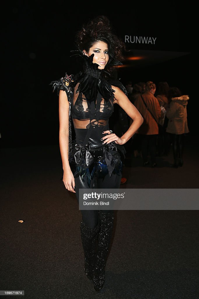 Micaela Schaefer attends Blacky Dress Autumn/Winter 2013/14 fashion show during Mercedes-Benz Fashion Week Berlin at Brandenburg Gate on January 16, 2013 in Berlin, Germany.
