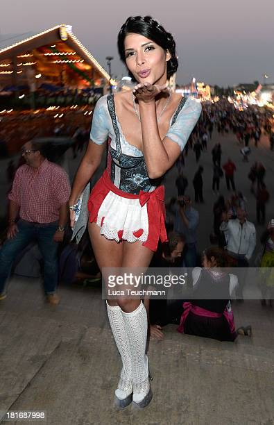 Micaela Schaefer is seen during Oktoberfest 2013 at Theresienwiese on September 23 2013 in Munich Germany