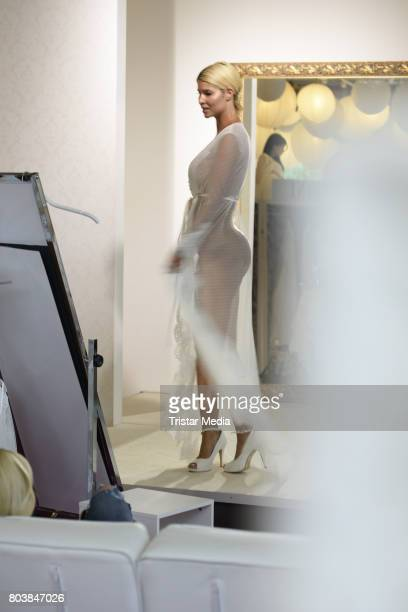Micaela Schaefer is seen in Berlin shopping for a wedding dress at Crusz on June 30 2017 in Berlin Germany