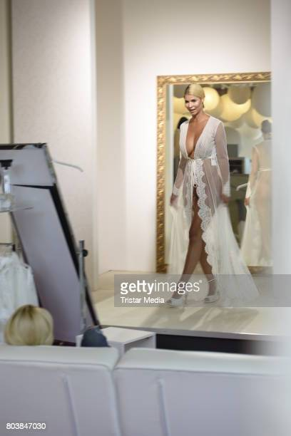 Micaela Schaefer is seen in Berlin shopping for a wedding dress at Crusz on June 30 2017 in Berlin Germany