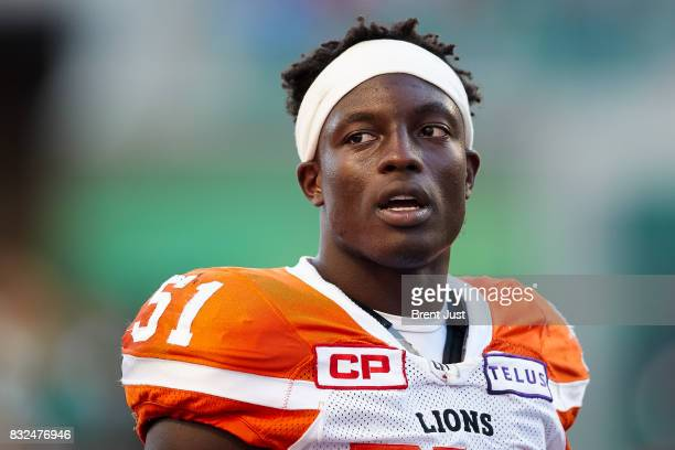 Micah Awe of the BC Lions on the sideline during the game between the BC Lions and the Saskatchewan Roughriders at Mosaic Stadium on August 13 2017...