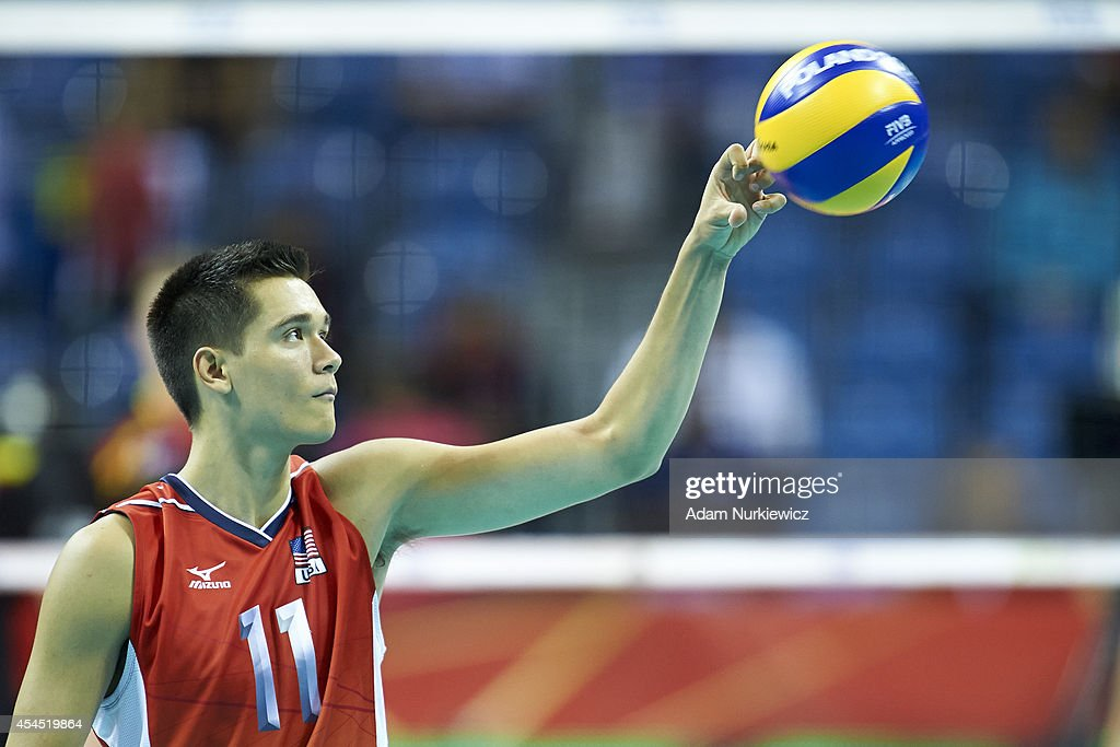Micah Christenson of USA looks to the ball during the FIVB World Championships Volleyball at Cracow Arena on August 31, 2014 in Cracow, Poland.