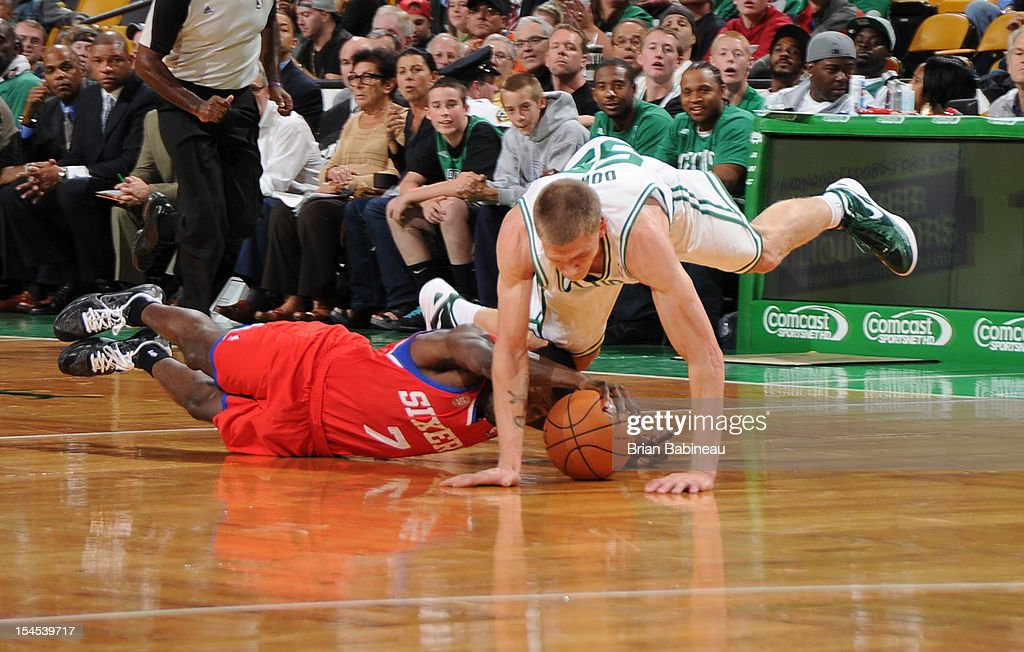 <a gi-track='captionPersonalityLinkClicked' href=/galleries/search?phrase=Micah+Downs&family=editorial&specificpeople=491038 ng-click='$event.stopPropagation()'>Micah Downs</a> #55 of the Boston Celtics dives for the ball against <a gi-track='captionPersonalityLinkClicked' href=/galleries/search?phrase=Royal+Ivey&family=editorial&specificpeople=209331 ng-click='$event.stopPropagation()'>Royal Ivey</a> #7 of the Philadelphia 76ers on October 21, 2012 at the TD Garden in Boston, Massachusetts.