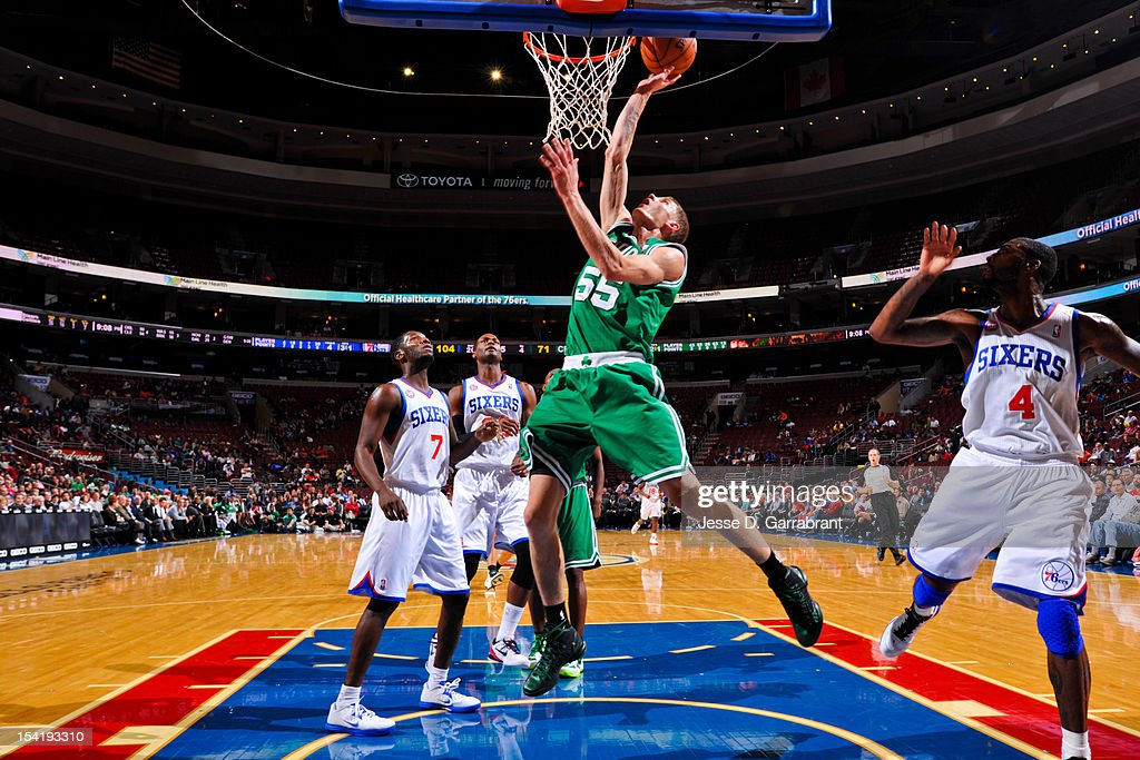 Micah Downs #55 of the Boston Celtics goes to the basket against the Philadelphia 76ers during a pre-season game at the Wells Fargo Center on October 15, 2012 in Philadelphia, Pennsylvania.