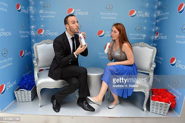 Micah Jesse and Janine Janson pose with Diet Pepsi during Spring 2013 MercedesBenz Fashion Week at Lincoln Center for the Performing Arts on...