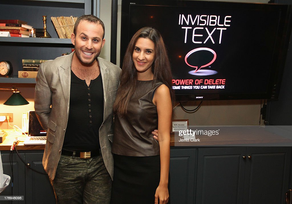 <a gi-track='captionPersonalityLinkClicked' href=/galleries/search?phrase=Micah+Jesse&family=editorial&specificpeople=4838538 ng-click='$event.stopPropagation()'>Micah Jesse</a> and Natalie Zfat attend the Invisible Text Mobile Text App Preview at the Soho House on August 14, 2013 in New York City.