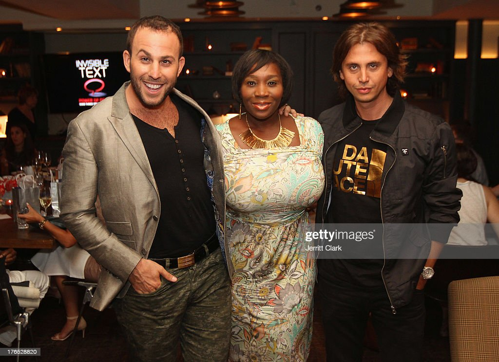 Micah Jesse, Beverly Smith and Jonathan Cheban attend the Invisible Text Mobile App Preview at the Soho House on August 14, 2013 in New York City.