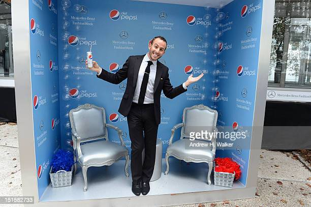 Micah Jesse poses with Diet Pepsi during Spring 2013 MercedesBenz Fashion Week at Lincoln Center for the Performing Arts on September 8 2012 in New...