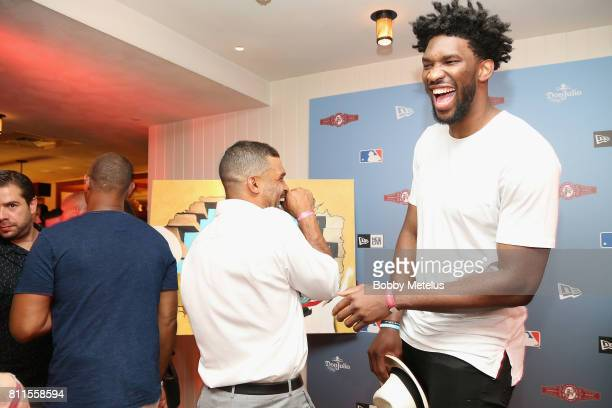 Micah Johnson and Joel Embiid attend the New Era Cap MLB AllStar Party 2017 at Beachcraft at 1 Hotel South Beach on July 9 2017 in Miami Beach Florida