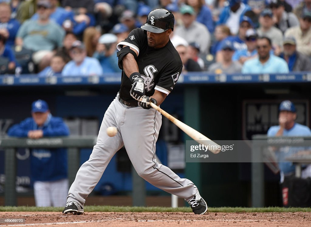 Micah Johnson #7 of the Chicago White Sox hits a double in the eighth inning during a game against the Kansas City Royals on April 9, 2015 at Kauffman Stadium in Kansas City, Missouri.