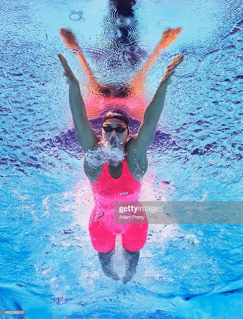 Micah Lawrence of the United States competes in the Women's 200m Breaststroke final on day fourteen of the 16th FINA World Championships at the Kazan Arena on August 7, 2015 in Kazan, Russia.