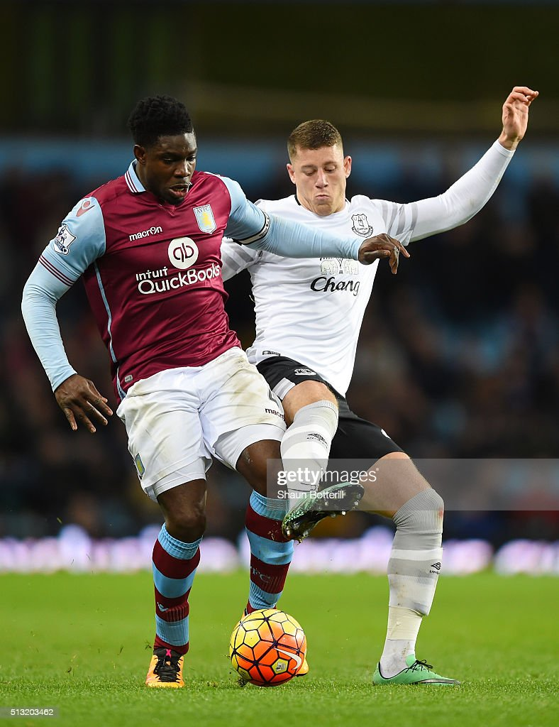 Micah Richards of Aston Villa and Ross Barkley of Everton compete for the ball during the Barclays Premier League match between Aston Villa and Everton at Villa Park on March 1, 2016 in Birmingham, England.