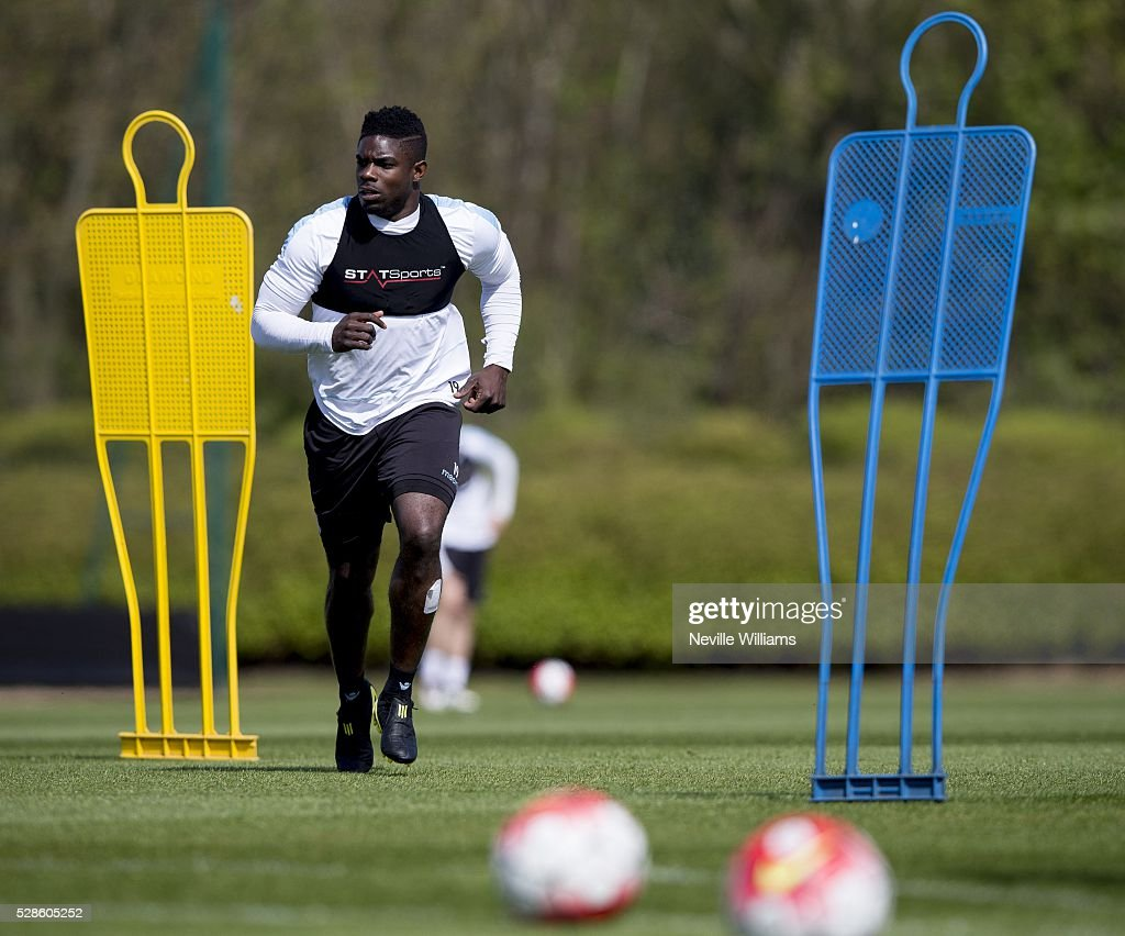 Micah Richards of Aston Villa in action during a Aston Villa training session at the club's training ground at Bodymoor Heath on May 06, 2016 in Birmingham, England.