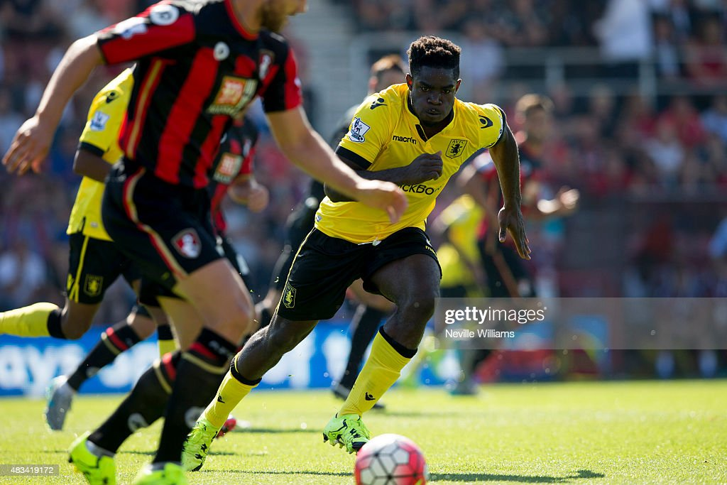 Micah Richards of Aston Villa in action during the Barclays Premier League match between A.F.C. Bournemouth and Aston Villa at the Vitality Stadium on August 08, 2015 in Bournemouth, England.