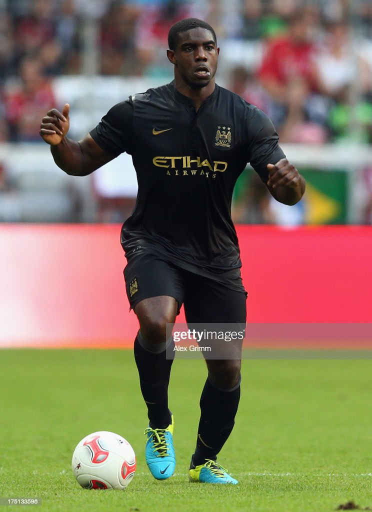 <a gi-track='captionPersonalityLinkClicked' href=/galleries/search?phrase=Micah+Richards&family=editorial&specificpeople=647038 ng-click='$event.stopPropagation()'>Micah Richards</a> of Manchester controles the ball during the Audi Cup match between Manchester City and AC Milan at Allianz Arena on July 31, 2013 in Munich, Germany.