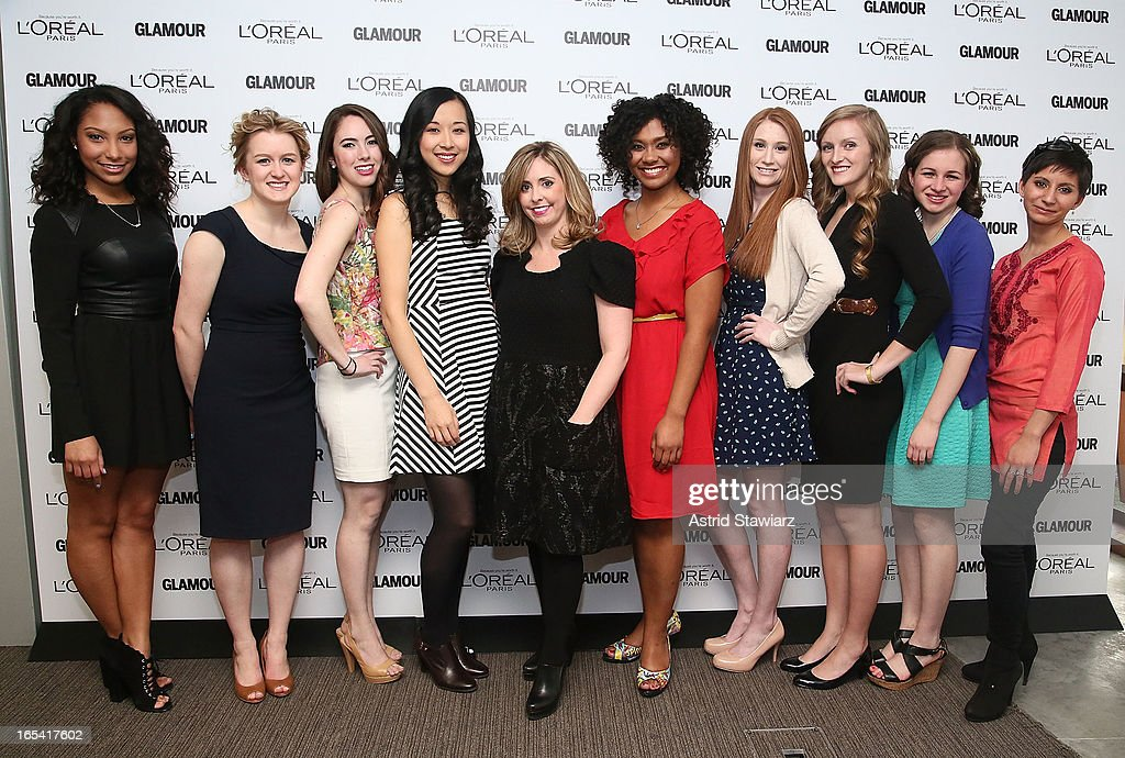 Micah Schure, Grace Young, Cara Eckholm, Alice Lee, Director of Public Relations for L'Oreal Paris, Mora Neilson, Otana Jakpor, Katherine Bomkamp, Margaret Gilroy, Simone Bernstein and Noorjahan Akbar attend the Glamour And L'Oreal Paris Celebration for the Top Ten College Women at The Diana Center At Barnard College on April 3, 2013 in New York City.