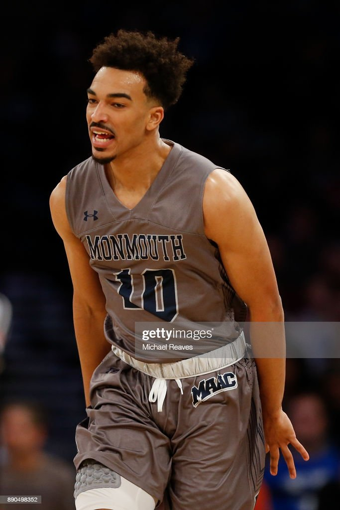 Micah Seaborn #10 of the Monmouth Hawks celebrates after a basket against the Kentucky Wildcats during the Citi Hoops Classic at Madison Square Garden on December 9, 2017 in New York City.