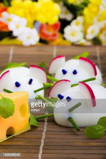 Mice made from eggs with cheese : Stock Photo