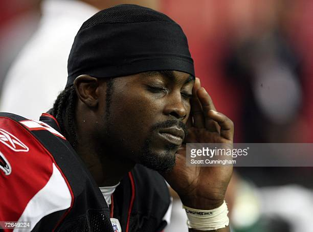 Michaeel Vick of the Atlanta Falcons shows frustration at the end of the game against the New Orleans Saints at the Georgia Dome on November 26 2006...