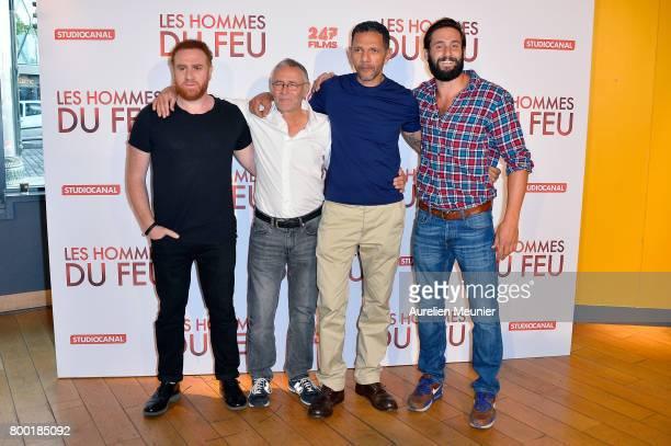 Michael Abiteboul Pierre Jolivet Roschdy Zem and Guillaume Labbe attend the 'Les Hommes du feu' Paris premiere at Cinema Pathe Beaugrenelle on June...