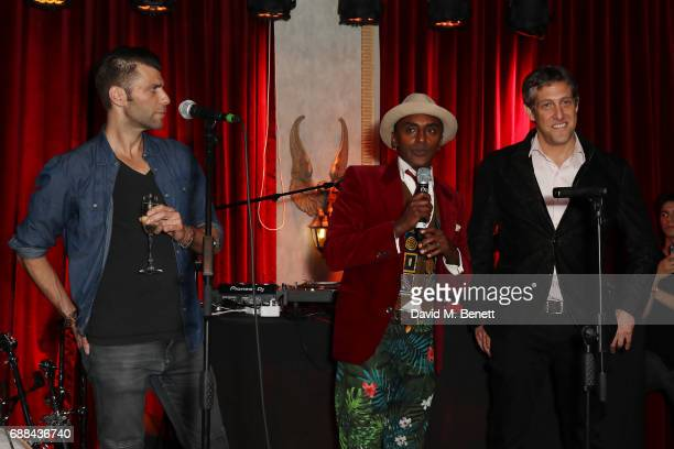 Michael Achenbaum Marcus Samuelsson and Randi Levine attends the launch of new restaurant 'Red Rooster' at The Curtain on May 25 2017 in London...