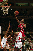 Michael 'Air' Jordan soars over two New York Knicks Sidney Green and Charles Oakley as he drives for two points during their NBA Playoff Game here...