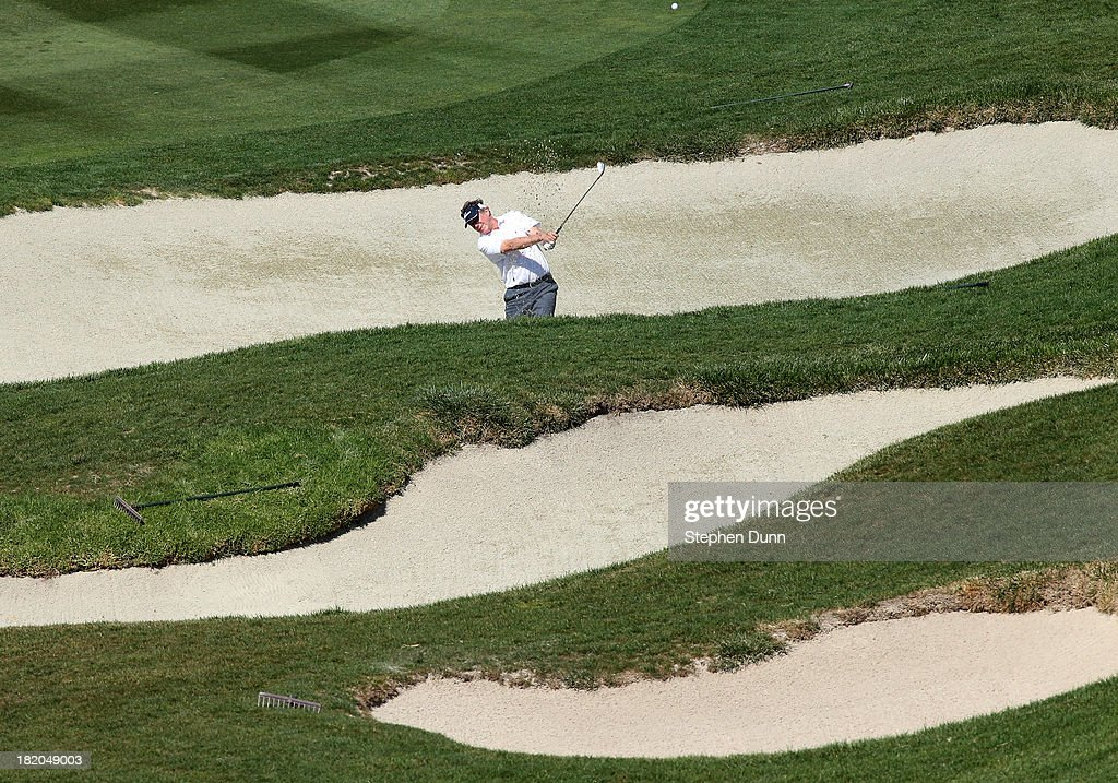 <a gi-track='captionPersonalityLinkClicked' href=/galleries/search?phrase=Michael+Allen&family=editorial&specificpeople=662312 ng-click='$event.stopPropagation()'>Michael Allen</a> hits from a fairway bunder on the sixth hole durng the first round of the Nature Valley First Tee Open at Pebble Beach at Pebble each Golf Links on September 27, 2013 in Pebble Beach, California.
