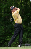 Michael Allen hits his tee shot on the 15th hole during the final round of the 70th Senior PGA Championship at Canterbury Golf Club on May 24 2009 in...