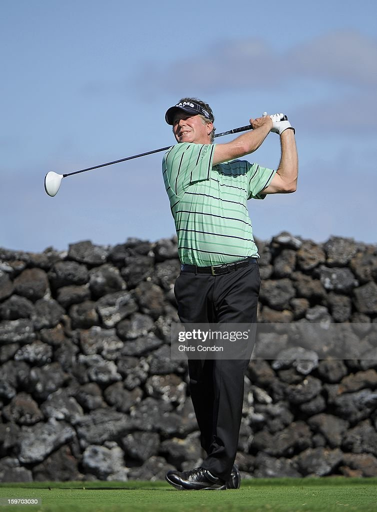 KA'UPULEHU-KONA, HI - JANUARY 18: Michael Allen plays from the ninth tee during the first round of the Mitsubishi Electric Championship at Hualalai Golf Club on January 18, 2013 in Ka'upulehu-Kona, Hawaii.