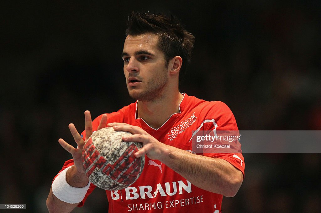 Michael Allendorf of Melsungen during the Toyota Handball Bundesliga match between MT Melsungen and THW Kiel at the Rotehnbach Hall on September 28, 2010 in Kassel, Germany.