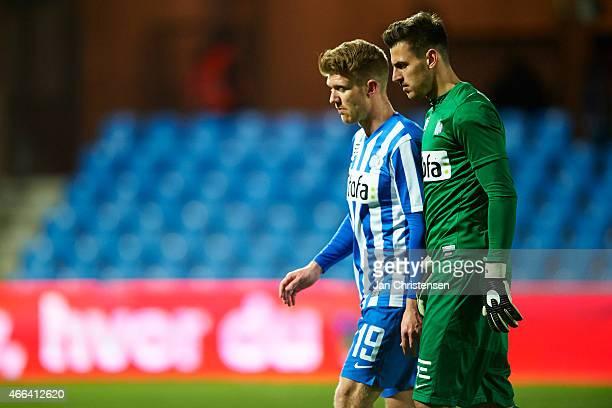 Michael Almeback of Esbjerg FB and Goalkeeper Daniel Iversen of Esbjerg FB looks dejected after the Danish Alka Superliga match between Esbjerg FB...