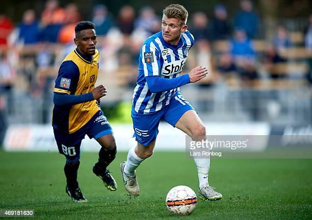 Michael Almeback of Esbjerg FB and Quincy Antipas of Hobro IK the Danish Alka Superliga match between Hobro IK and Esbjerg fB at DS Arena on April 10...