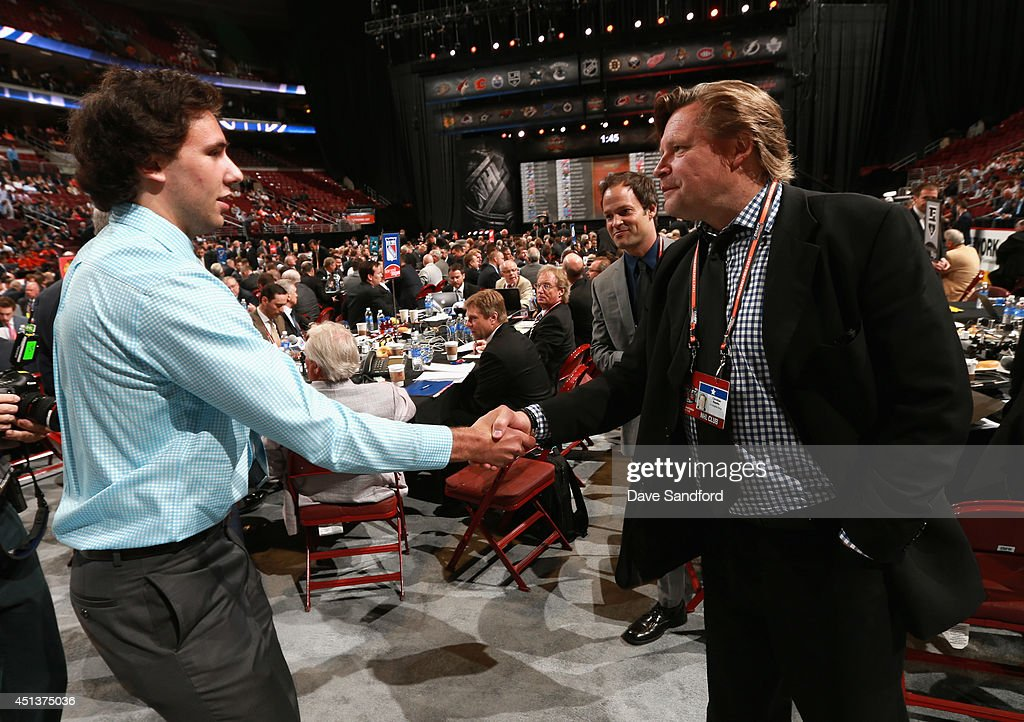 Michael Amadio greets his team after being selected 90th overall by the Los Angeles Kings during the 2014 NHL Entry Draft at Wells Fargo Center on June 28, 2014 in Philadelphia, Pennsylvania.