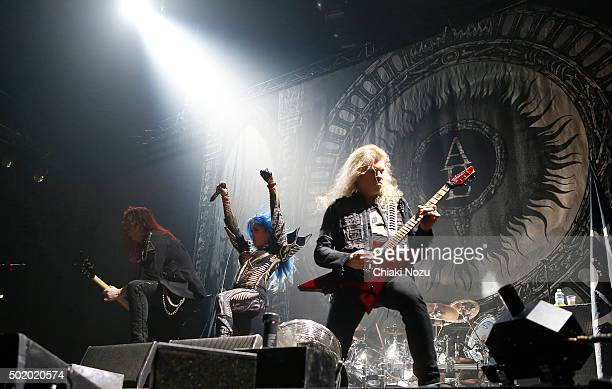 Michael Amott Alissa WhiteGluz and Jeff Loomis of Arch Enemy perform at Wembley Arena on December 19 2015 in London England