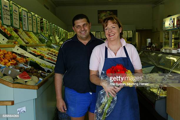 Michael and MaryAnne DeNavi owners of the De Navis Fruit and Vegetable shop in Clovelly 10 March 2005 SMH Picture by STEVEN SIEWERT