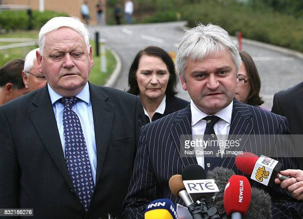 Michael and Micheal Harron husband and son of Attracta Harron read a statement outside Dungannon Crown Court after the sentencing of her murderer...