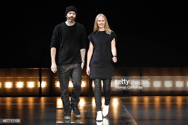 Michael and Nicole Colovos walk the runway at Helmut Lang during MercedesBenz Fashion Week Fall 2014 at 545 West 22nd Street on February 7 2014 in...
