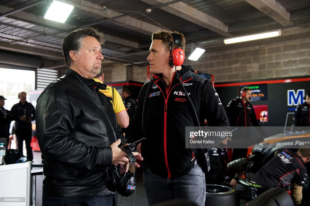 Michael Andretti of Andretti Autosport chats with Ryan Walkinshaw of Walkinshaw Racing during practice ahead of this weekend's Bathurst 1000, which is part of the Supercars Championship at Mount Panorama on October 6, 2017 in Bathurst, Australia.