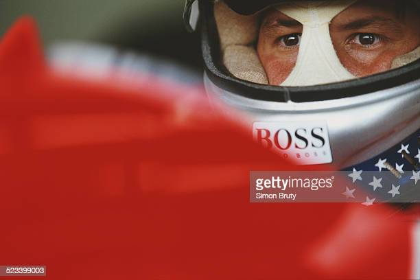 Michael Andretti of the United States driver of the Marlboro McLaren McLaren MP4/8 Ford HBE7 V8 during practice for the French Grand Prix on 3 July...