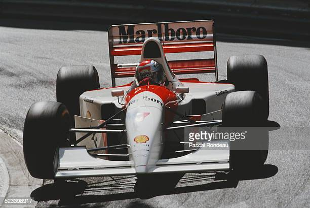 Michael Andretti of the United States drives the Marlboro McLaren McLaren MP4/8 Ford HBE7 V8 during practice for the Grand Prix of Monaco on 22 May...