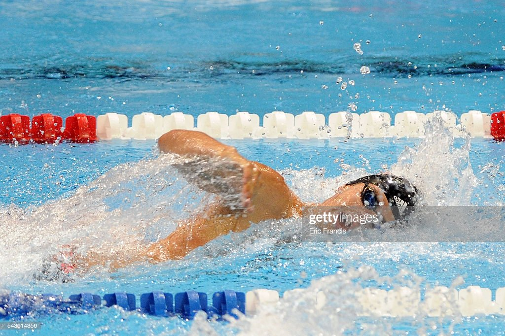 Michael Andrew competes in a preliminary heat of the Men's 100 meter freestyle during Day 4 of the 2016 U.S. Olympic Team Swimming Trials at CenturyLink Center on June 29, 2016 in Omaha, Nebraska.